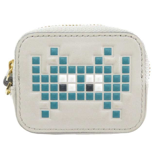 Item - Gray Space Invader Coin Case Leather Ladies Wallet