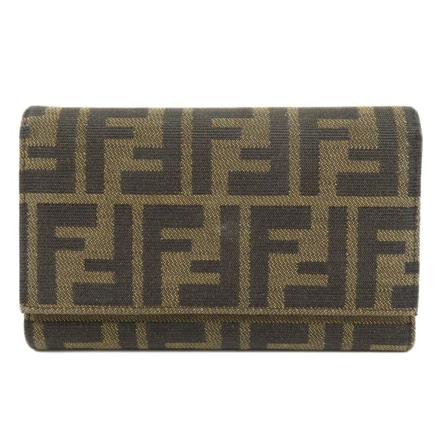 Item - Brown Long Zucca Bi-fold Canvas Leather Ladies Wallet