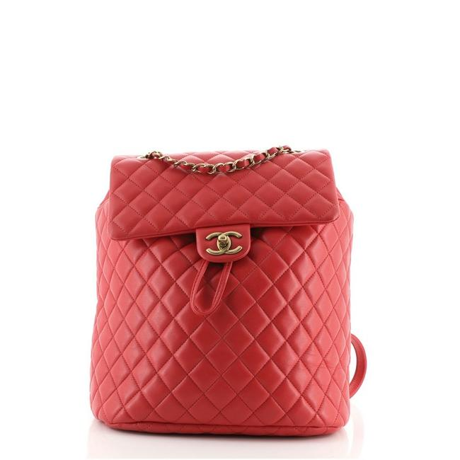 Item - Urban Spirit Quilted Lambskin Large Red Leather Backpack