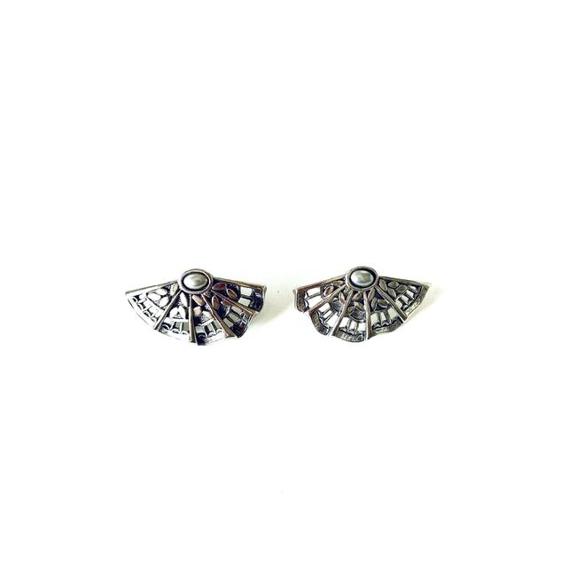 Item - Silver Vtg Estate Fan Stud Earrings