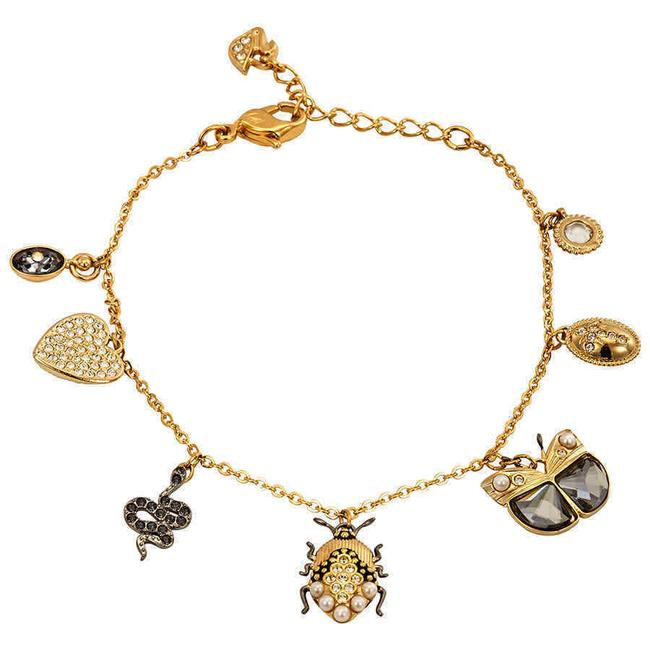 Item - Multicolor 23k Yellow Gold Plated Crystal & Crystal Pearl Charm Bracelet