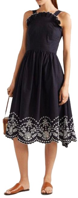 Item - Blue Broderie Anglaise Trimmed Navy Mid-length Casual Maxi Dress Size 0 (XS)