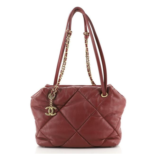 Item - Bowling Bag Paris-new York Quilted Lambskin Small Red Leather Satchel