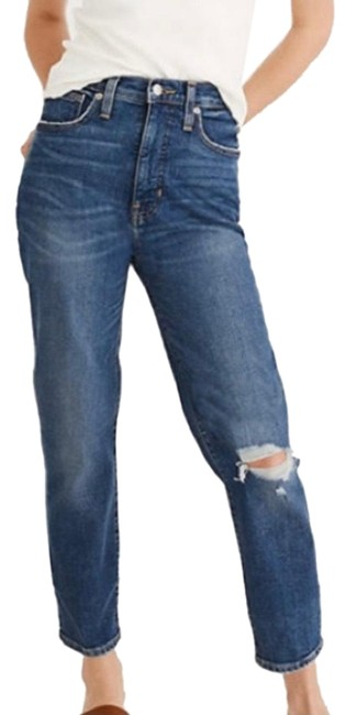 Item - Blue Distressed The Mom Comfort Stretch Edition Straight Leg Jeans Size 00 (XXS, 24)