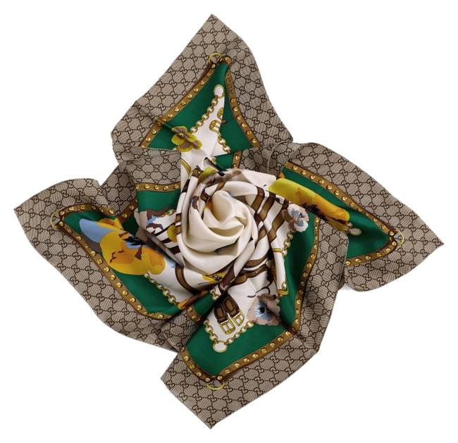 Item - Brown White Green Yellow New Gg Floral Summer Silk Shawl Scarf/Wrap