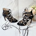 Jimmy Choo Black Hitch 100 Strappy Lace Up Cage Tie Suede Sandals Size US 5.5 Regular (M, B) Jimmy Choo Black Hitch 100 Strappy Lace Up Cage Tie Suede Sandals Size US 5.5 Regular (M, B) Image 2