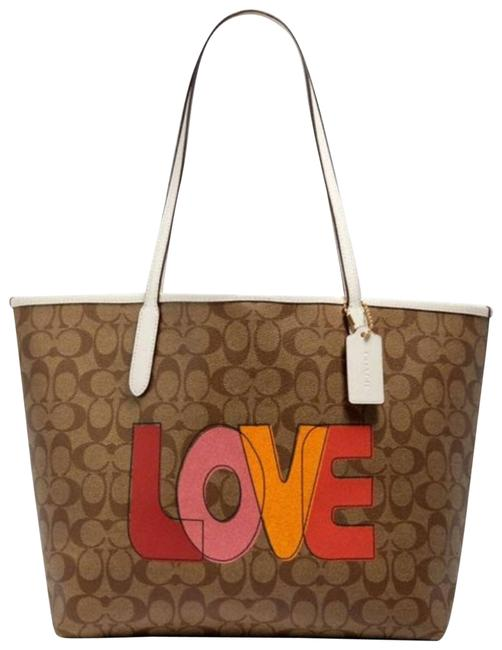 Item - City Signature Canvas with Love Print Red Coated-canvas Tote