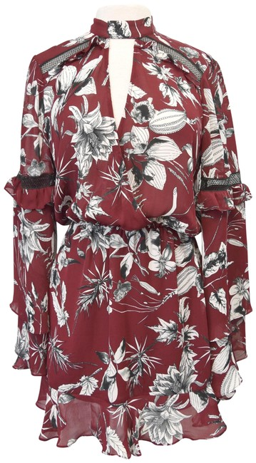 Item - Maroon Floral Small Short Cocktail Dress Size 4 (S)