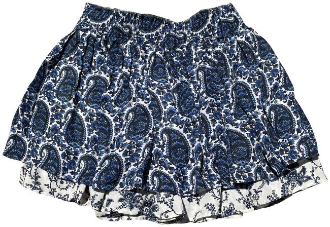 Item - Blue/White Ruffled Paisley Silk Skirt Size 10 (M, 31)