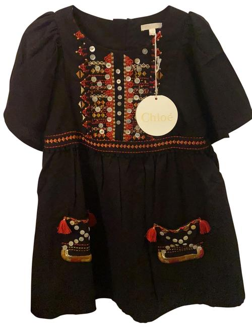 Item - Black/Red/Gold Kids Mid-length Short Casual Dress Size 4 (S)