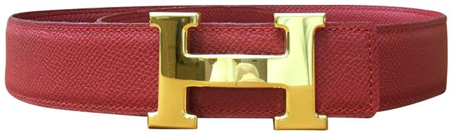 Item - Red On Red 32mm Classic Gold H Reversible Leather Size 70 Belt