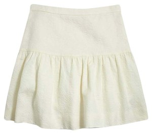 J.Crew Jacquard Floral Cream Ivory White Waisted Mini Skirt Beige