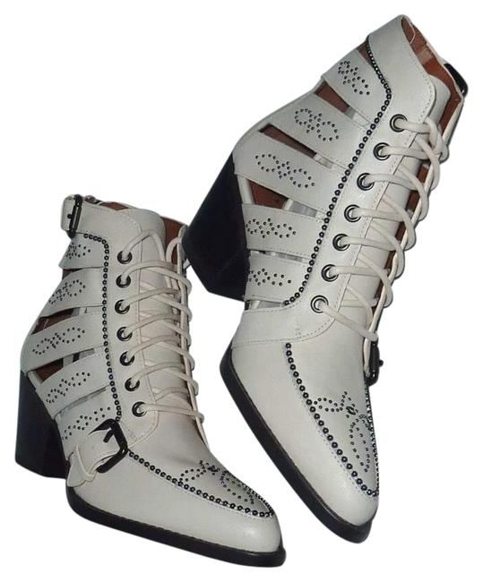 Item - White Paisley Studded Cutout Leather Zip Lace Ankle B Chalk New Boots/Booties Size US 9.5 Regular (M, B)