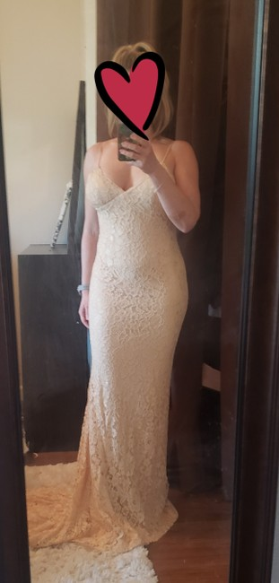 Item - Champagne Lace Open Back Sexy Wedding Dress Size 4 (S)