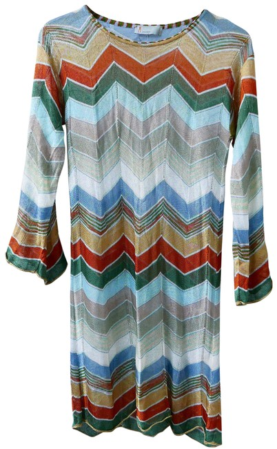 Item - Blue Multi Print Tunic Dress Cover-up/Sarong Size 4 (S)
