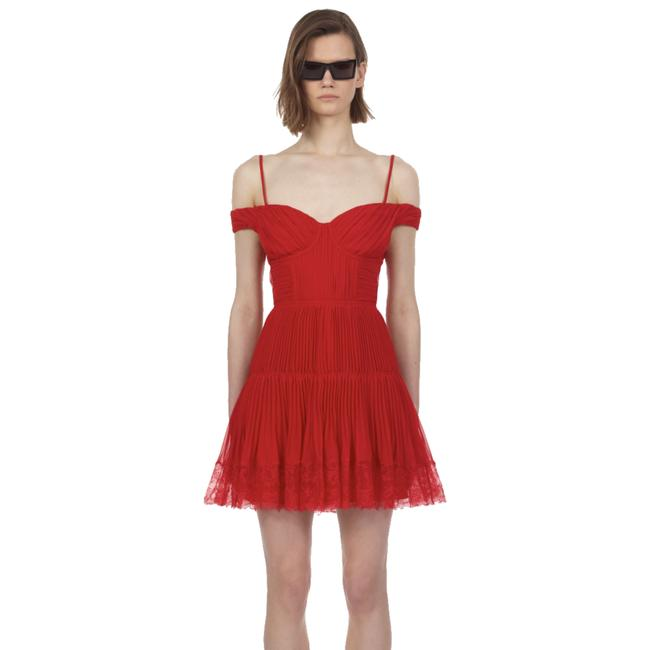 Item - Red Off Shoulder Pleated Chiffon Mini with Lace Trim Short Cocktail Dress Size 8 (M)