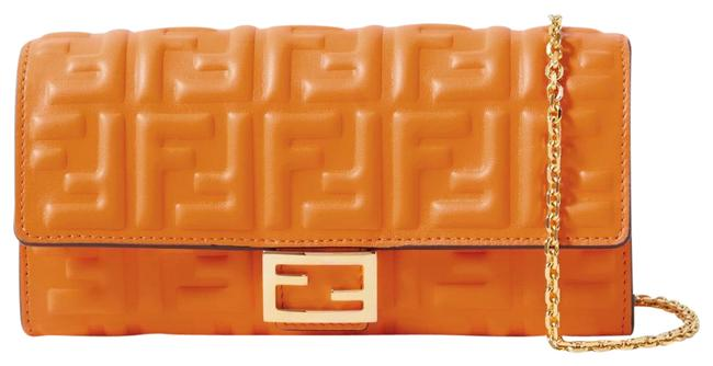 Item - Clutch New Ff Zucca Motif Monogram Logo Baguette Embossed Leather Orange Cross Body Bag