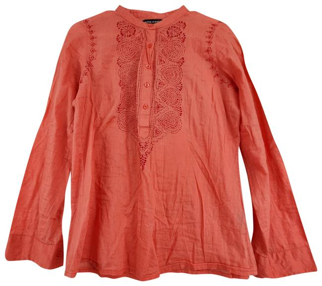 Item - Pink Embroidered Half Button Up Long Sleeve Blouse Size 8 (M)