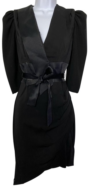 Item - Black W New Wrap Around Puff Sleeves Msrp 375 Mid-length Night Out Dress Size 4 (S)