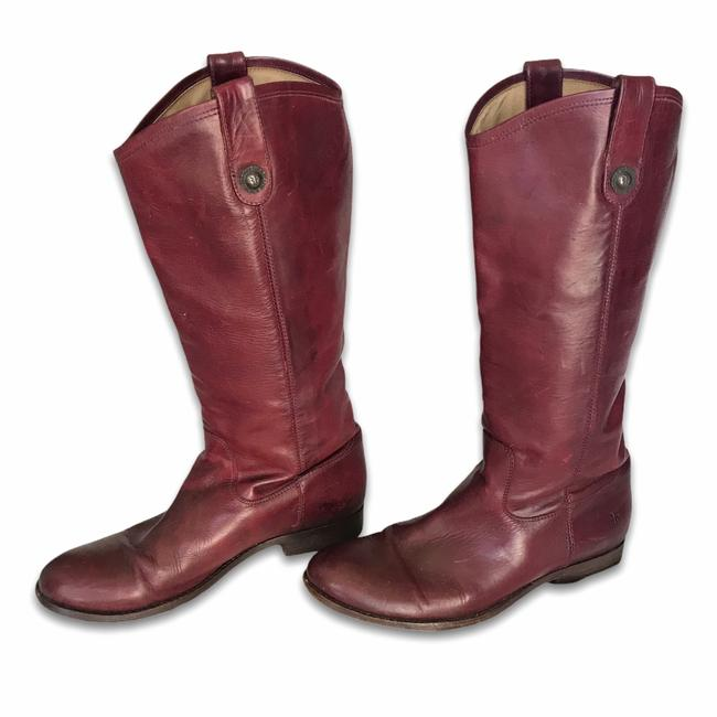 Item - Red Melissa Burgundy Button Leather Riding Boots/Booties Size US 10 Regular (M, B)