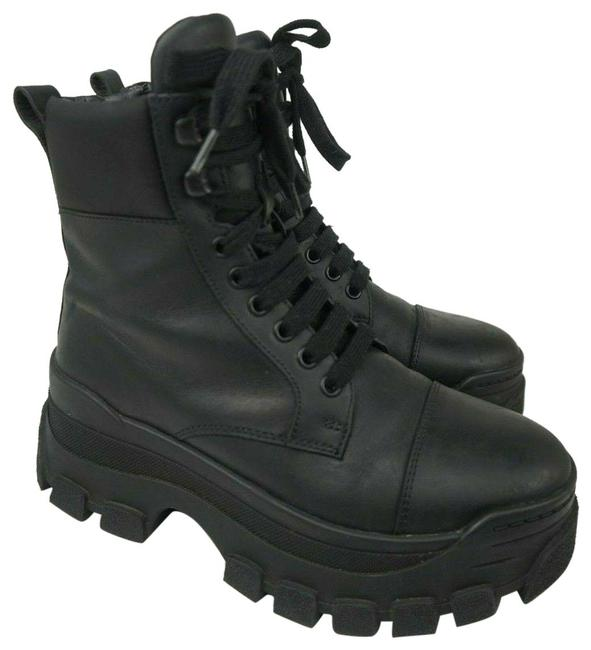 Item - Black Leather Women's Combat Cap Toe Hiking Boots/Booties Size EU 37 (Approx. US 7) Regular (M, B)