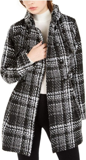 Item - Black White Juniors' Plaid Double-breasted Belted Coat Size 4 (S)