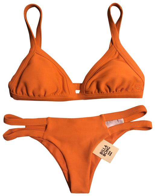 Item - Orange Tanlines Fixed Triangle Top and Tanlines Isla Cheeky Bottoms Bikini Set Size 14 (L)