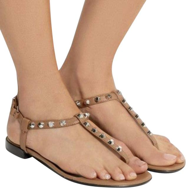 Item - Brown Studded Leather T-strap Sandals Size EU 37 (Approx. US 7) Regular (M, B)