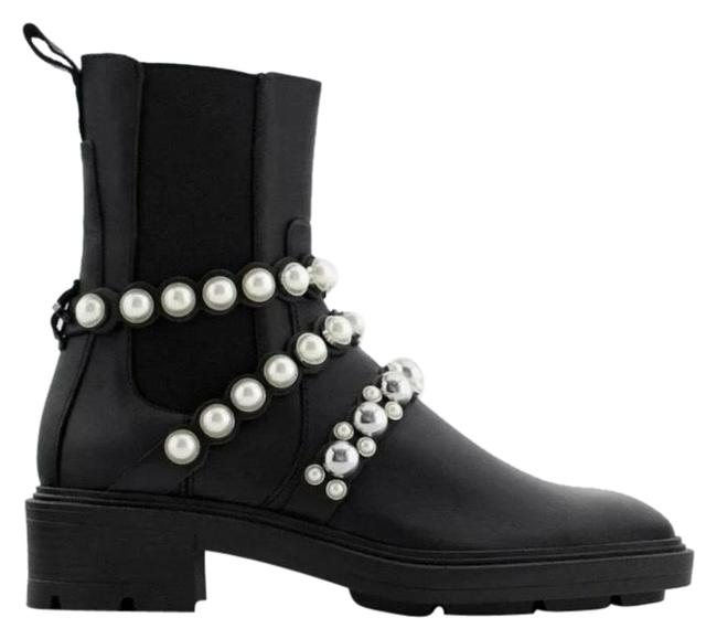 Item - Black Pearl Strap Low Heeled Leather Ankle Boots/Booties Size US 8 Regular (M, B)