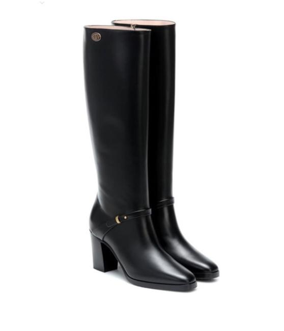 Item - Black 596855 Double G Leather Knee High Boots/Booties Size EU 36.5 (Approx. US 6.5) Regular (M, B)