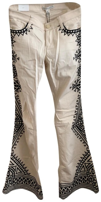 Item - Cream and Black Riley Low Rise Bell Flare Leg Jeans Size 6 (S, 28)