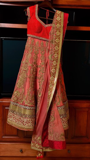 Salmon and Red Net Silk Wedding Dress Size 4 (S) Image 1