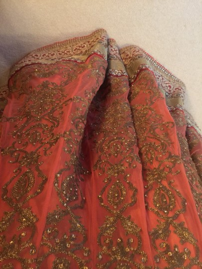 Salmon and Red Net Silk Wedding Dress Size 4 (S)