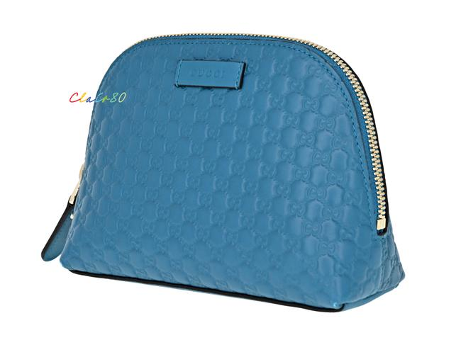 Item - Deep Cobalt Pouch 449893 Gg Microguccissima Leather Cosmetic Bag
