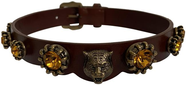 Item - Brown Feline Head Gold Crystal Studded Leather Choker Necklace