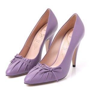 Gucci Bow Gathered Leather Purple Cone Heel Pointy New Lavender Pumps