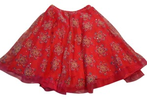other Lined Hologram Sequins Skirt hot pink