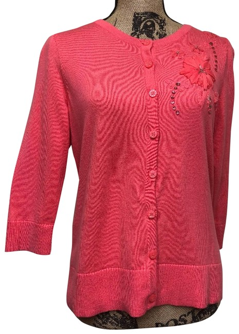 Item - Pink Coral Embellished Ladies Small Cardigan Size 4 (S)