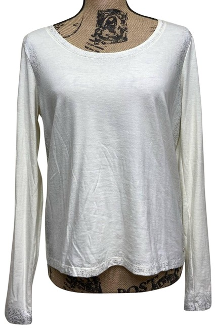 Item - White Ivory Silver Foil Detail Tee Activewear Top Size 8 (M)