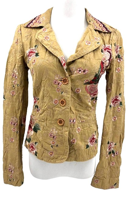 Item - Gold XS Embroidered Jacket Floral Cotton Blazer Size 2 (XS)