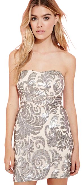 Item - Silver Nude Natural Baroque Sequined Strapless Short Casual Dress Size 14 (L)