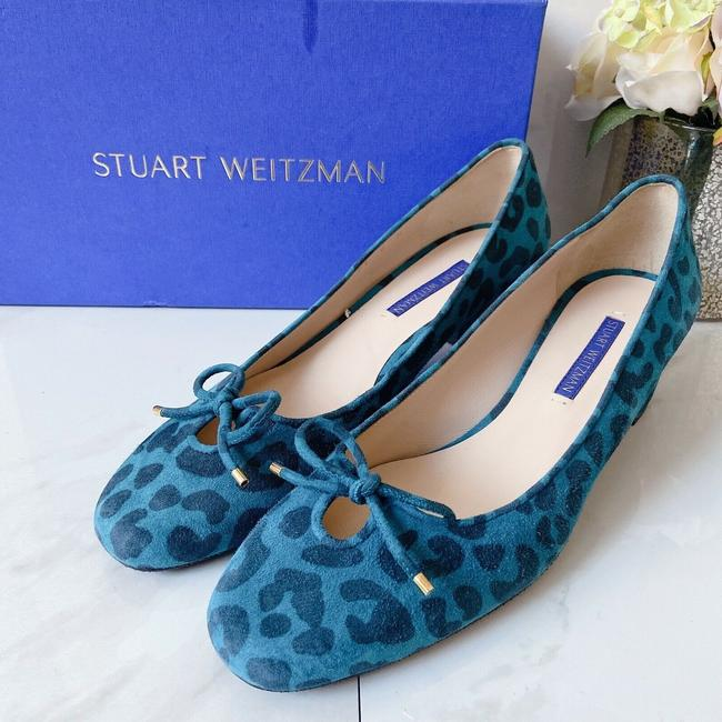 Item - Blue Black Gabby 45 Heel Suede Cheetah Print Bow Pumps Size US 8 Regular (M, B)