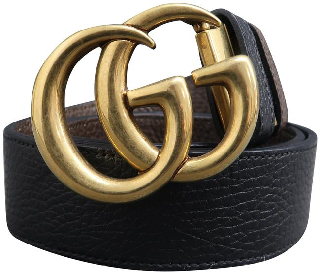 Item - Black and Brown Marmont Gg 85/34 Belt