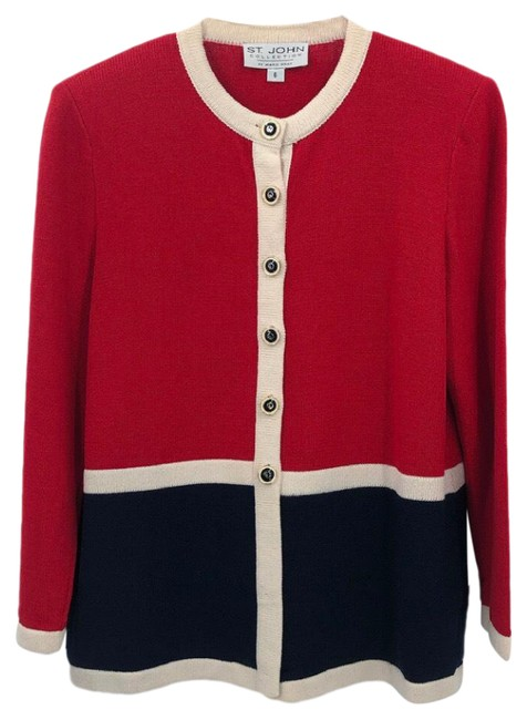 Item - Red and Navy Color-block Knit Blazer Size 6 (S)