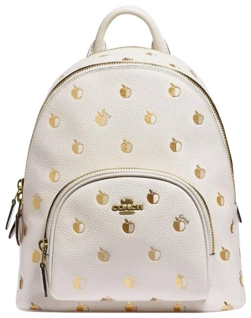 Item - Carrie W 23 W/Apple Print White Leather Backpack