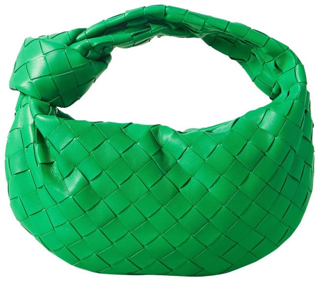 Item - Jodie Mini Knotted Intrecciato Green Leather and Velvet Tote