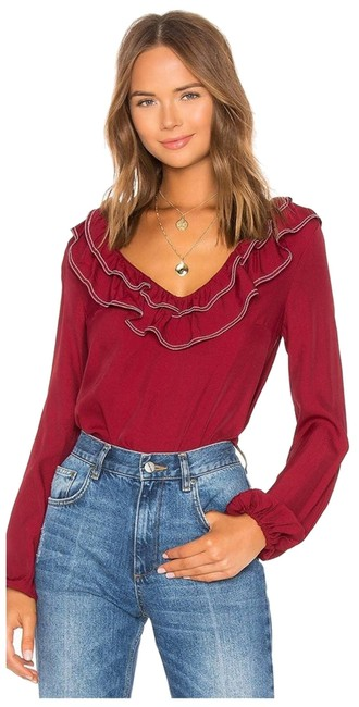 Item - Red L Ruffle Heather Blouse Size 12 (L)