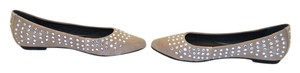 Joie Ballerina Suede Studded Crystal Tan Flats
