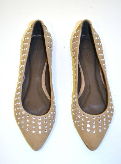 Joie Ballerina Suede Studded Crystal Tan Flats Image 1