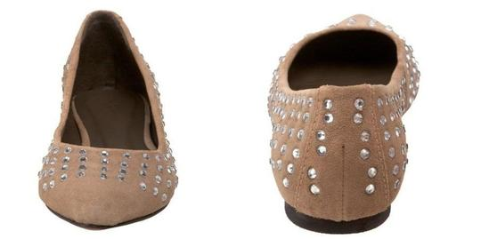 Joie Ballerina Suede Studded Crystal Tan Flats Image 3